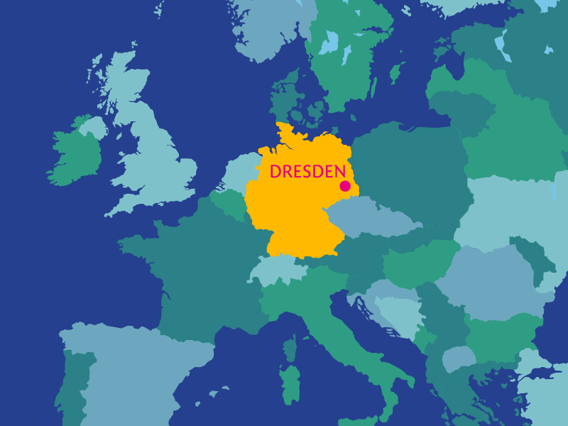 Map of Dresden within Germany and Europe